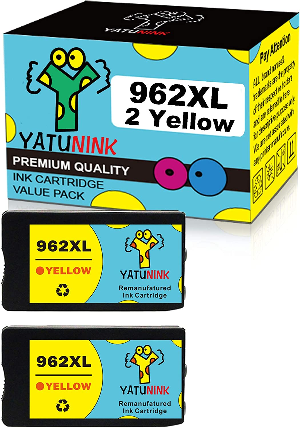 YATUNINK Remanufactured Ink Cartridge Replacement for HP 962XL 962 XL YeLLow Ink Cartridges Combo Pack 3JA02AN for HP OfficeJet Pro 9010 Officejet 9012 Officejet 9015 9018 9020 9025 Printer (2 YeLLow)