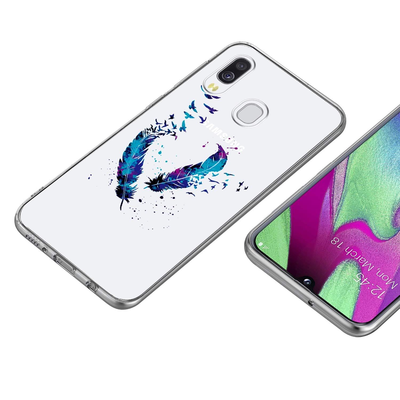 HOCORN 3X Cover con Motivo Dipinto per Samsung Galaxy A40 Custodia Protettiva Antiurto in Silicone TPU Morbido,Piume Blu Farfalle E Fiori Denti di Leone Viola