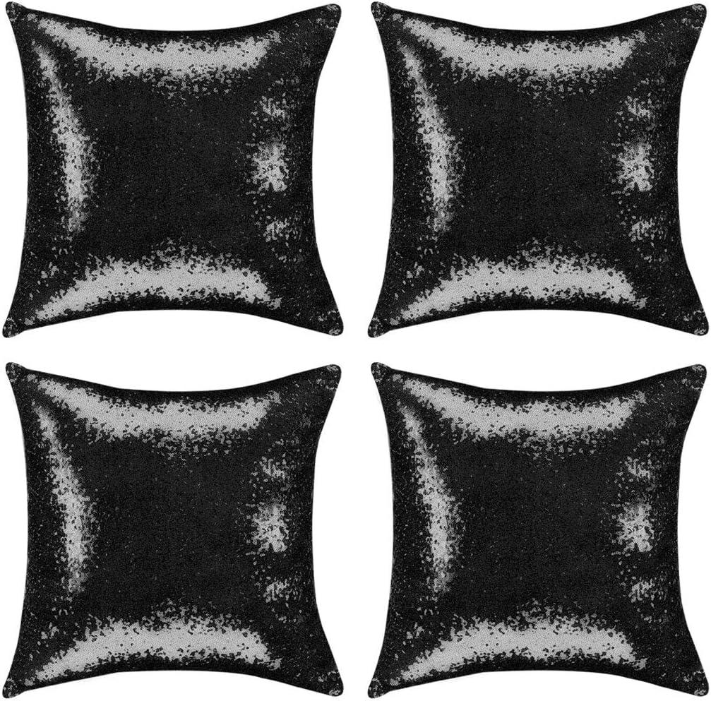 PiccoCasa 4 Pcs Sequin Throw Pillow Covers, 18 x 18 Inch, Glitzy Decorative Cushion Covers Shiny Sparkling Satin Pillowcase Cover for Livingroom Christmas Decor, Black