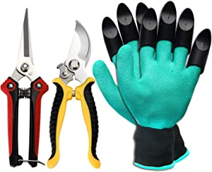 Pruning Shears, ZOUTOG Stainless Steel Garden Shears,3 Pack Gardening Gifts Including Garden Clippers, Gardening Gloves - for Garden Trimming,Tree Trimming, Weeding and Transplanting