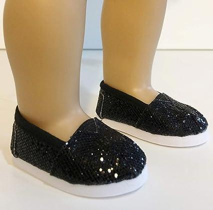 """Pretty Black Glitter Slip On Shoes for American Girl Dolls /& 18/"""" Dolls"""