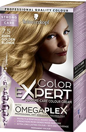 a5adcb9d71 Schwarzkopf Color Expert Omegaplex Hair Dye, 7-5 Dark Golden Blonde ...