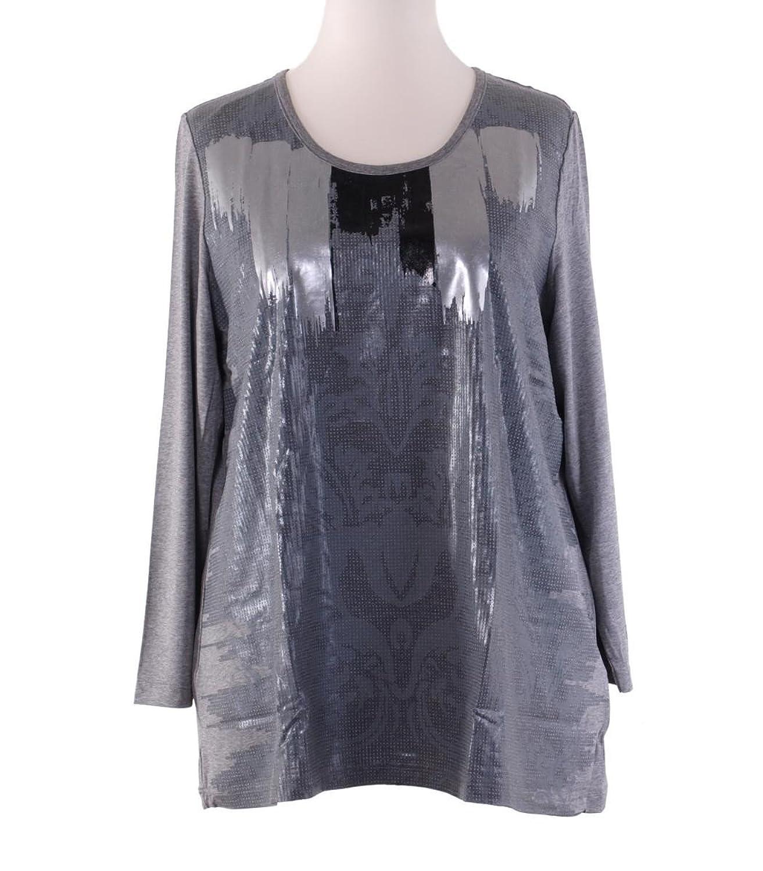 Chalou Langarm Shirt Glanzdruck Grau Silber Viskose Übergröße 48 50 52 54 56 58 60