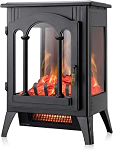 Xbeauty Electric Fireplace Stove, Freestanding Fireplace Heater with Realistic Flame, Indoor Electric Stove Heater, Portable, Infrared, Thermostat, Overheating Safety System, 1000W/1500W(16 Inch)