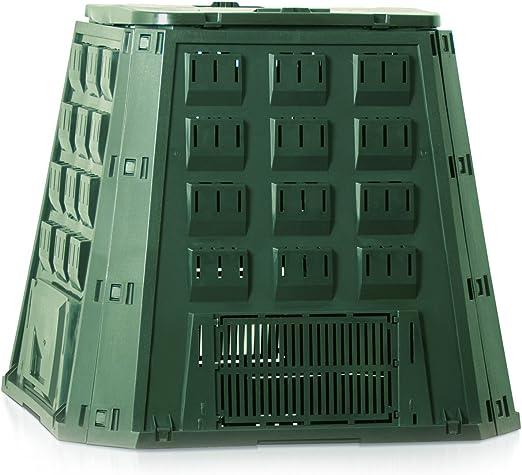 Compostera verde de plástico, de 400 litros de capacidad, para residuos compostables del jardín: Amazon.es: Jardín