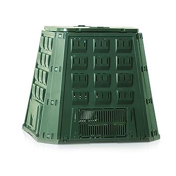 Compostera verde de plástico, de 400 litros de capacidad, para residuos compostables del jardín