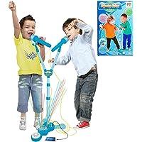 Microfone Infantil Duplo Amplificador Karaoke Com Pedestal Azul