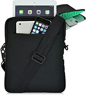 """product image for Turtleback Universal Tablet Pouch Shoulder Bag, Fits Devices 10.5"""" with Cases for Apple iPad Pro and Others, Made in The USA, Black/Green"""