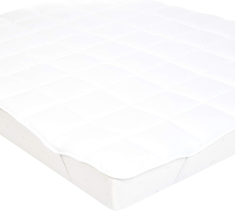 140 cm x 200 cm bianco Basics imbottitura in microfibra e poliestere Coprimaterasso morbido con elastici