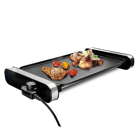 efluky Plancha de Asar eléctrica, Plancha Grill Revestimiento Antiadherente, Parrilla Asar Table Temperatura Ajustable, GD-4530, 2000W