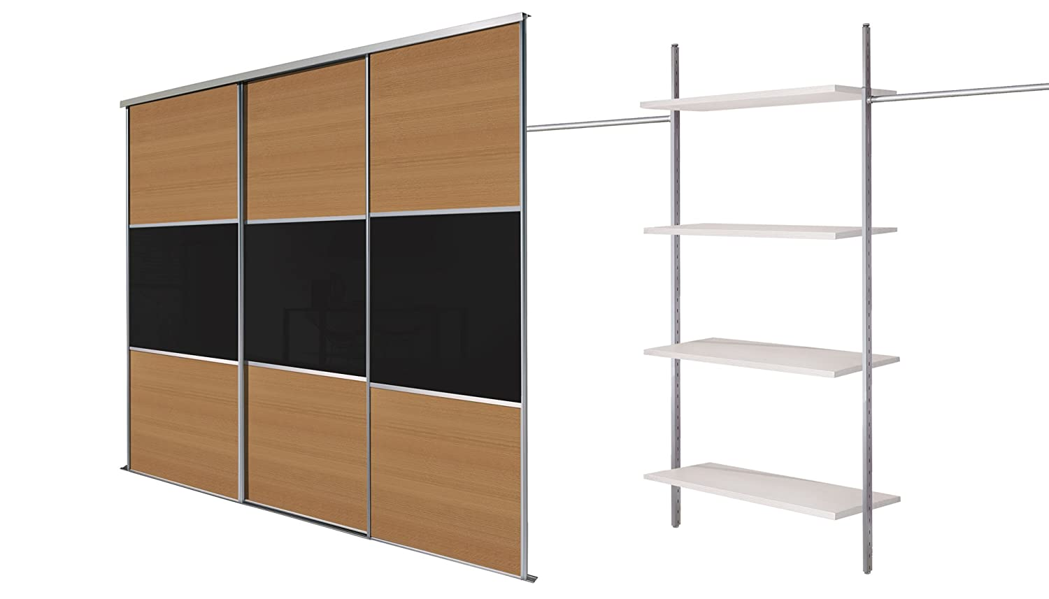 Silver framed wide. Triple 8ft 10ins 4 Panel Sliding Wardrobe Door Kit up to 2692mm SpacePro White Lacquered Glass