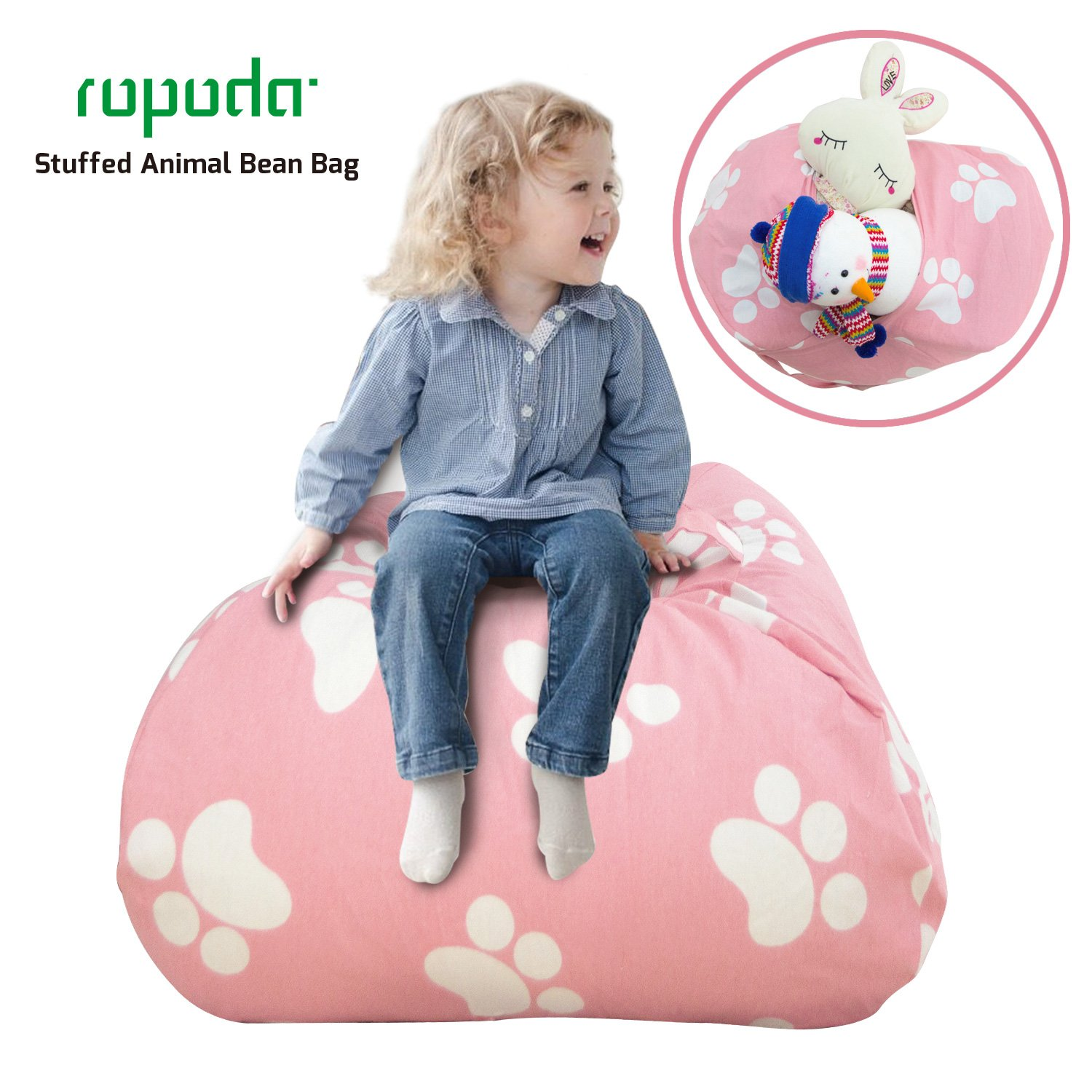 ROPODA Extra Large Kids Stuffed Animal Storage Bean Bag Cover-100% Cotton Canvas Storage Bag Perfect Storage Solution for Toys, Clothes,Covers or Blankets (pink footprint, 38inches)