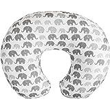 Boppy Nursing Pillow Cover—Premium | Gray Elephants Plaid | Soft, Quick-Dry Microfiber Fabric| Fits Boppy Bare Naked, Origina
