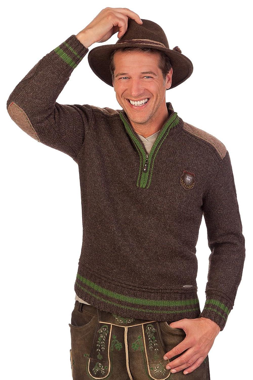 Trachten Herren Pullover - TEMPLIN - braun, blau