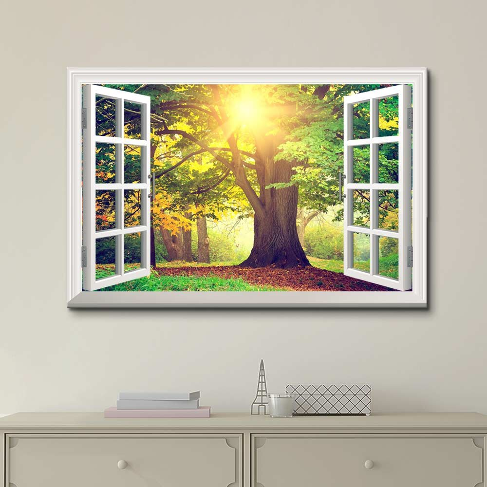Amazon.com: wall26 - Creative Window View Canvas Prints Wall Art ...
