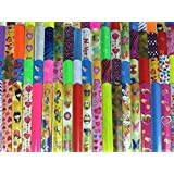 Gingerscoolstuff 35 Slap Bracelets. Kids Boys Girls Party Favors. Animal Prints - Hearts - Solid Colors. Storage Tube Included.