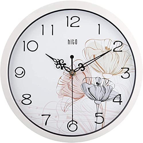 hito Silent Floral Wall Clock Non Ticking 10 inch Excellent Accurate Sweep Movement Glass Cover