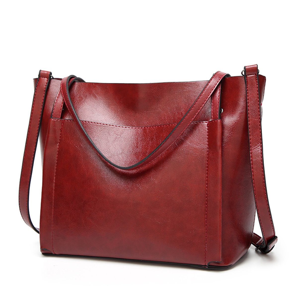 QIN LX Lady Leather Shopping Messenger Purse Top Handle Handbags Women's Shoulder Tote Satchel Bag (red)