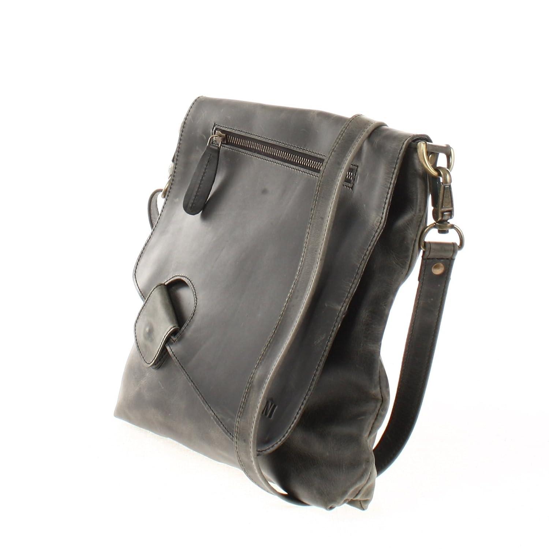 LECONI axelväska äkta koläder använd-look vintage kvinnor + män handväska fritid cross-body handväska 29 x 29 x 6 cm LE3027 Grey - Waxy