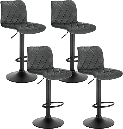 E-starain 2 Pezzi Sgabelli Regolabile da Bar//Casa Seggiola Alta Girevole a 360/° con Poggiapiedi e Schienale Design Scandinavo Crema LBAI100008-2