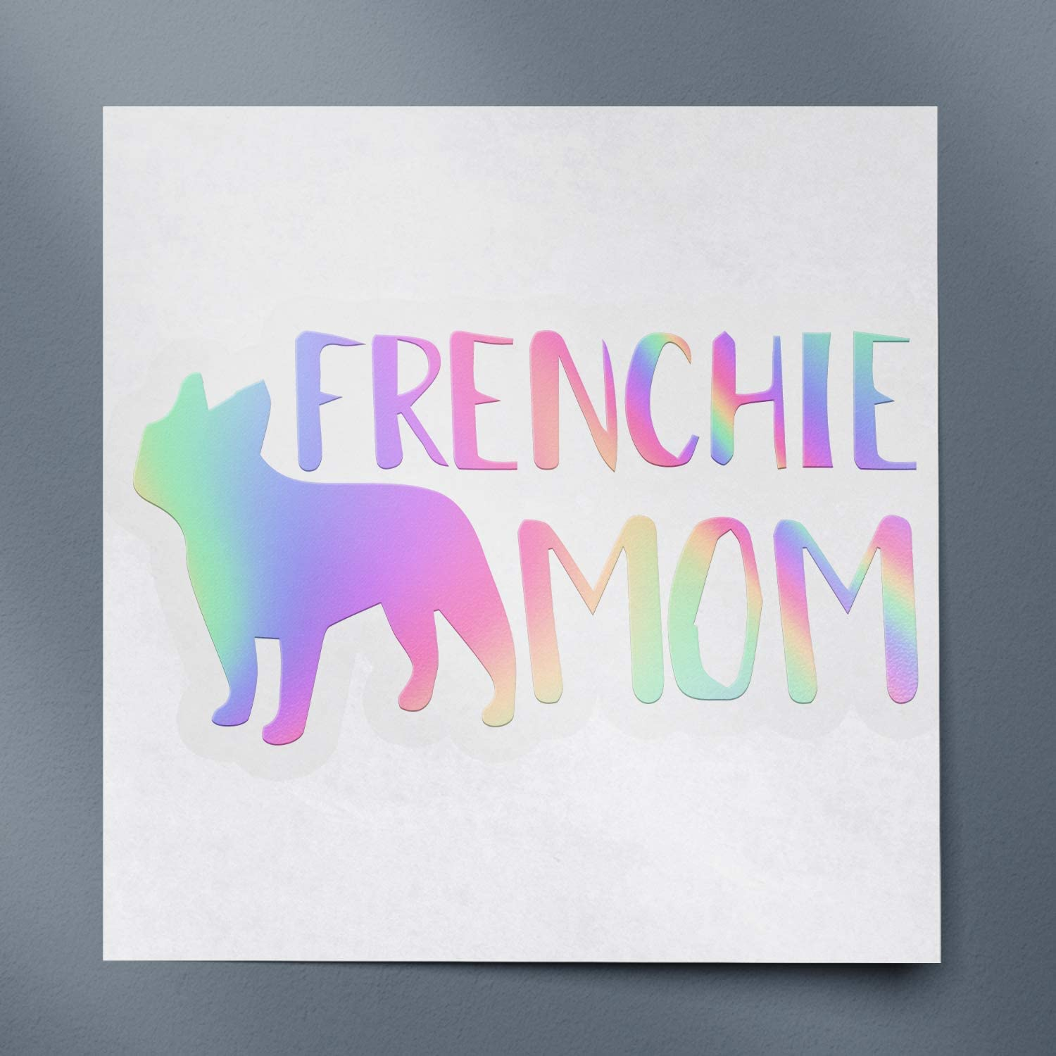 USC DECALS Frenchie Mom French Bulldog (Hologram) (Set of 2) Premium Waterproof Vinyl Decal Stickers for Laptop Phone Accessory Helmet Car Window Bumper Mug Tuber Cup Door Wall Decoration
