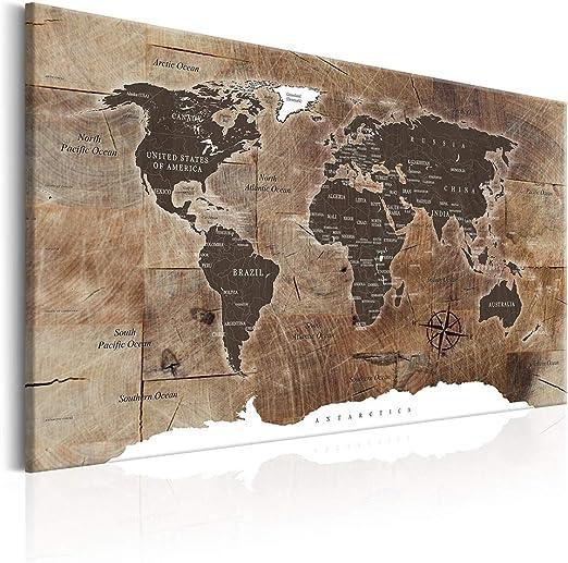 decomonkey Bilder Weltkarte 120x80 cm XXL 1 Teilig Leinwandbilder Bild auf  Leinwand Wandbild Kunstdruck Wanddeko Wand Wohnzimmer Wanddekoration Deko  ...