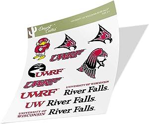 University of Wisconsin River Falls UWRF Falcons NCAA Sticker Vinyl Decal Laptop Water Bottle Car Scrapbook (Type 2 Sheet)