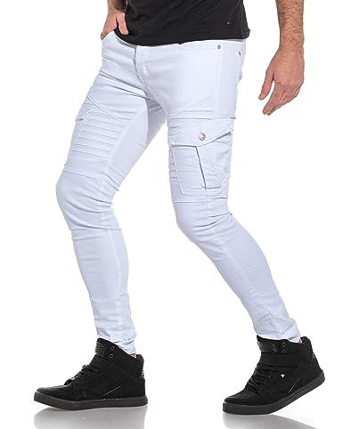 bf93dac75b3d BLZ Jeans - Jean Homme Blanc Slim Poches Cargo nervuré - Couleur  Blanc -  Taille  FR 42 US 34  Amazon.fr  Vêtements et accessoires
