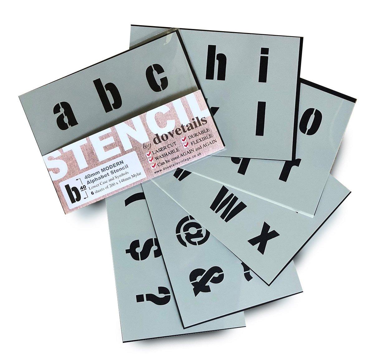 Moderna minuscole Con lettere dell' alfabeto e simboli, altezza 4 cm - su 6 fogli di 200 x 148 mm Dovetails