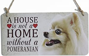 """zhongfei Rustic Style Dog Sign A House is Not A Home Without A Pomeranian Dog Plaque Suitable for Home Decoration (5"""" x 10"""") …"""