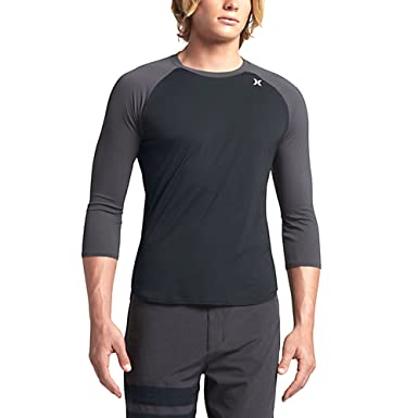 e04537fe Amazon.com: Hurley Dri-Fit Icon 3/4 Surf Shirt - White: Clothing