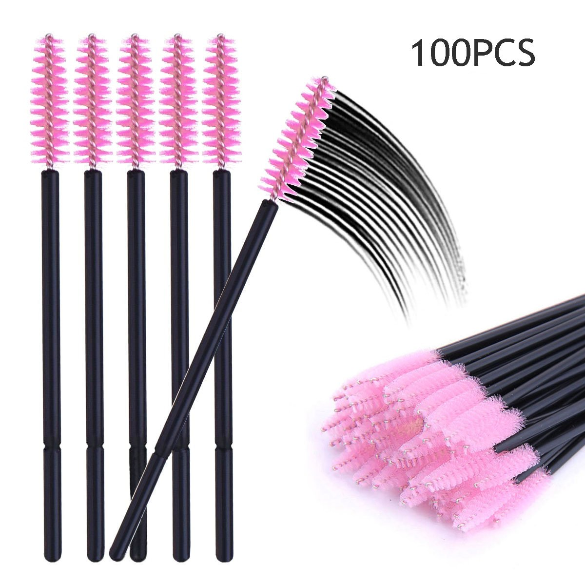 100 Pcs Disposable Mascara Wands Eyelash Brush Applicator Extension Makeup Tool (Pink) TEOYALL