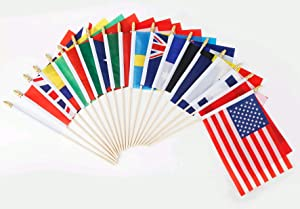50 Countries Small Mini Flags on Wooden Stick,International World Country Hand Held Flags Banners,Olympic Games,Party Decorations for World Cup,Sports Clubs,Festival Events 5x8Inch