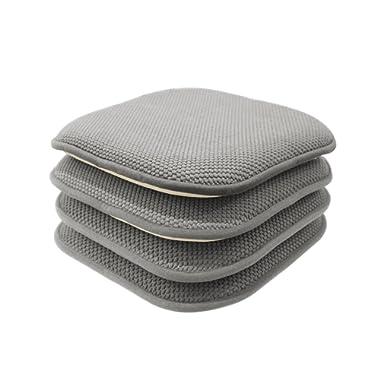 GoodGram 4 Pack Non Slip Honeycomb Premium Comfort Memory Foam Chair Pads/Cushions - Assorted Colors (Gray)