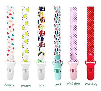 Pacifier Holder Strap,Baby Pacifier Clips//Baby Teething Holder Fits All Pacifiers /& Soothers for Boys and Girls Perfect Baby Gift Dummy Clips 6 Pack