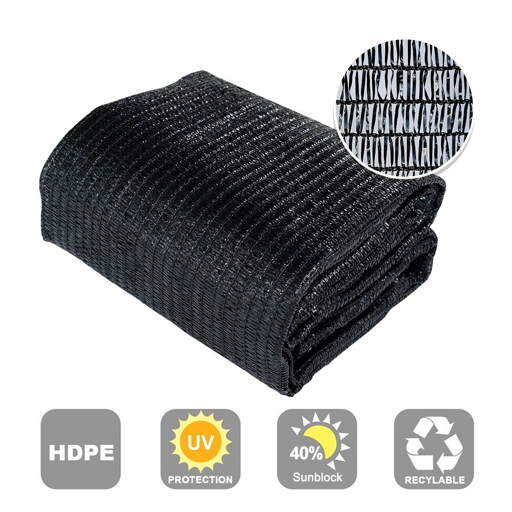 Agfabric 40% Sunblock Shade Cloth Cover with Clips for Plants 6.5' X 50', Black