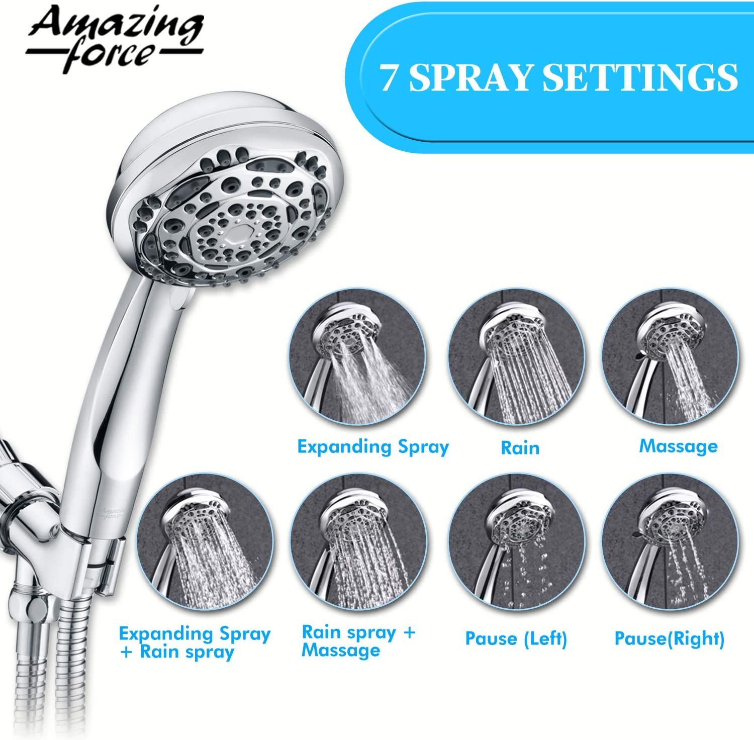 6 feet Black Amazing Force High Pressure Handheld Shower Head with 7 Spray Setting Massage Spa Showerhead with Adjustable Suction Cup and Bracket 4 Handheld Shower Heads with Extra Long Hose 71 inch