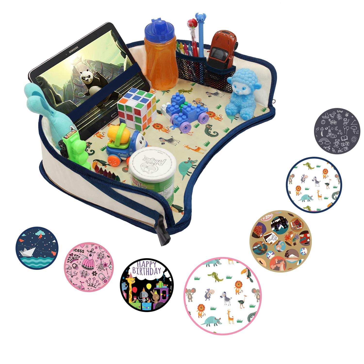 Sturdy Side Walls /& Padded Base Non-Flimsy Play Learn /& Organize Lap Desk for Car Seats Waterproof Snack Strollers /& Air Travel DMoose Kids Travel Activity Tray Strong Buckles Tablet Holder
