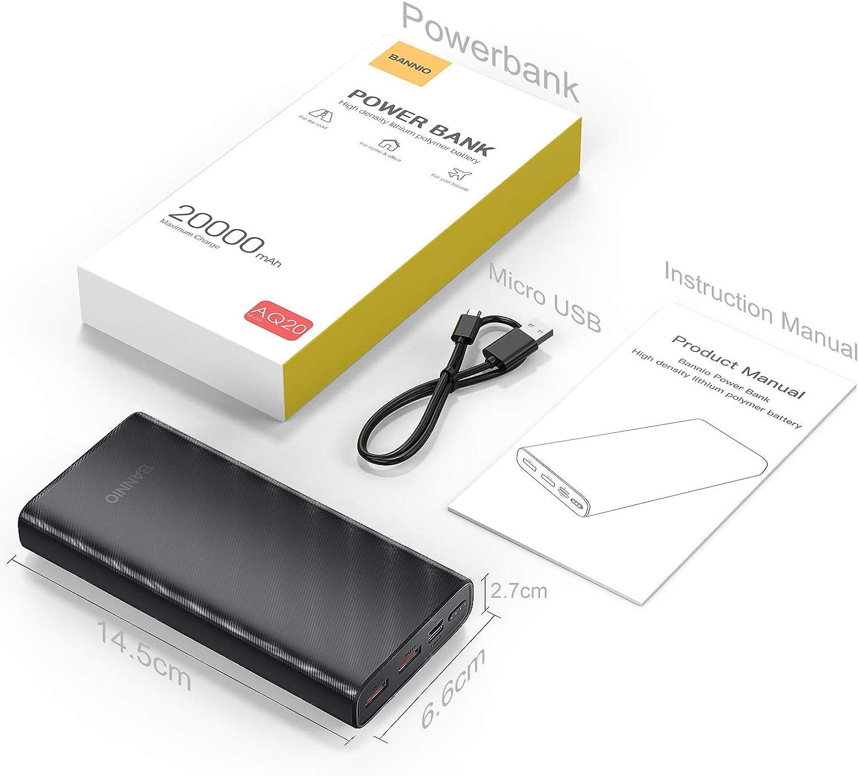 BANNIO 20000mAh Powerbank,USB C Externer Akku mit 18W Power Delivery Hohe Kapazit/ät Type C PD Power Bank Tragbares Ladeger/ät mit 2 Eing/ängen 3 Ausg/ängen f/ür iPhone,Samsung,Huawei,Tablet und usw.