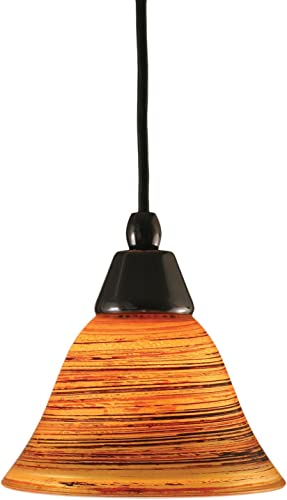 Toltec Lighting 22-BC-454 Cord Mini-Pendant Light Black Copper Finish with Firr Saturn Glass, 7-Inch