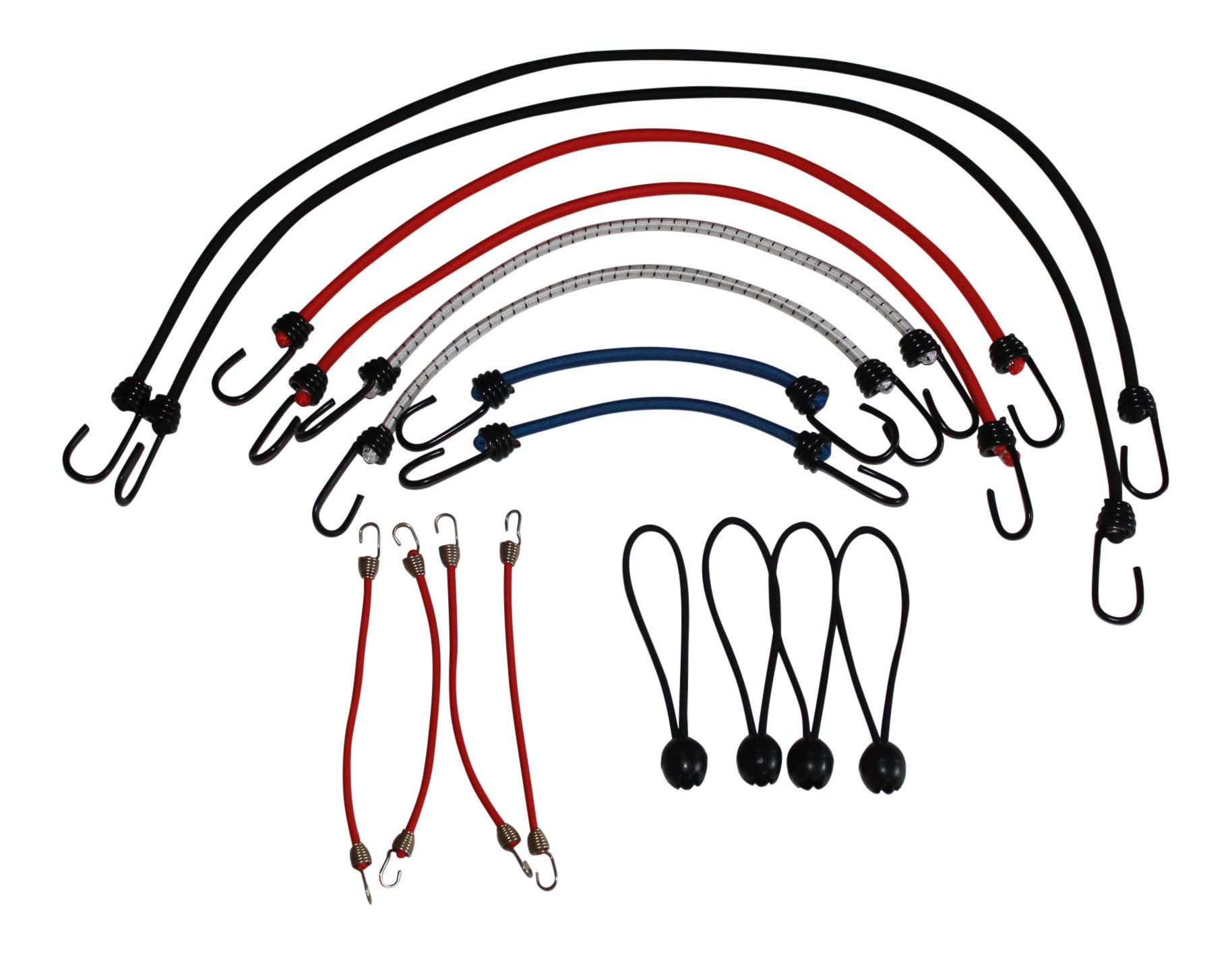 Bungee Cords Multi Pack Made in USA - 16 Cord Pack Bungee Cords Various colors and lengths