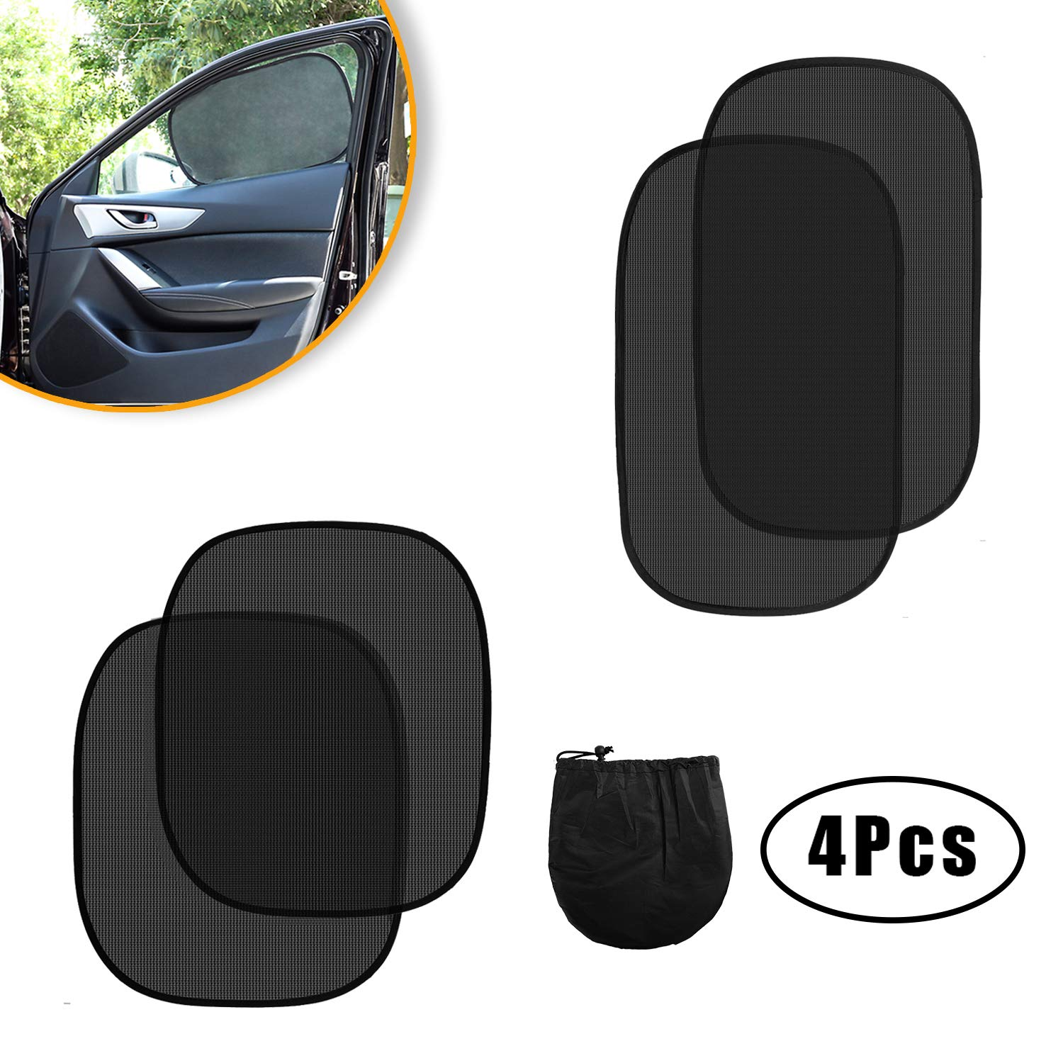 Zmoon Car Sun Shade - 4 Pack Cling Car Side and Rear Windows Sunshade Protect Kids and Pets from UV Ray, Sun Glare and Heat