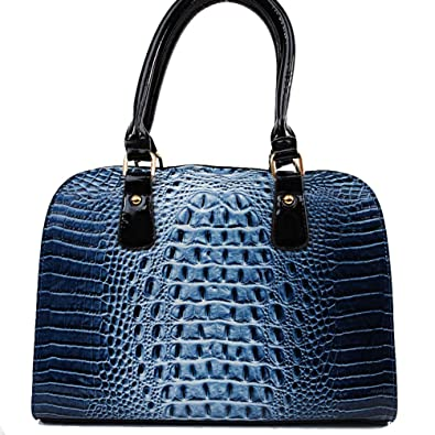 8dec4ced37c3 Amazon.com  Designer Inspired Fashion Unique Animal Print Crocodile  Snakeskin Embossed Patent Leather Solid Structured Tote Satchel Handbag  Purse with ...