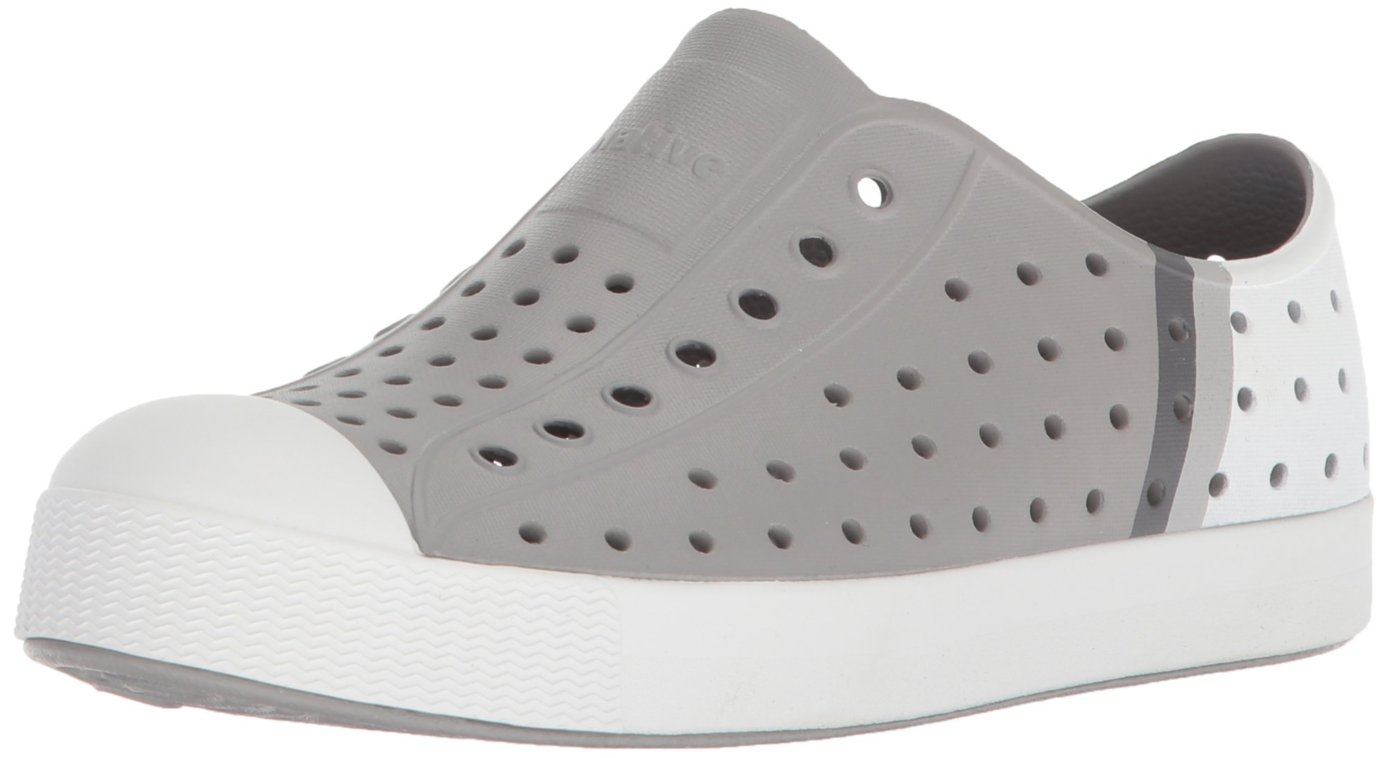Native Kids Block Print Jefferson Water Proof Shoes, Pigeon Grey/Shell White/Gradient Block, 5 Medium US Big Kid