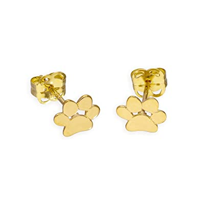 9ct Gold Pawprint Stud Earrings AJSpdytn
