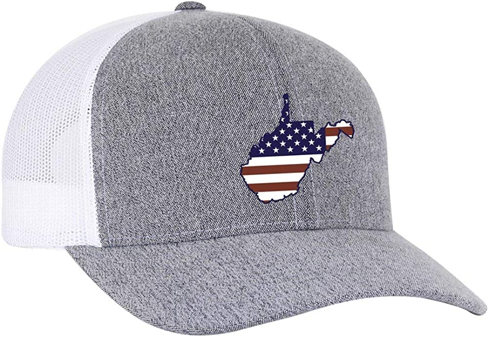 Heritage Pride Grey Heather and White American Flag Embroidered State Pride Trucker Hat