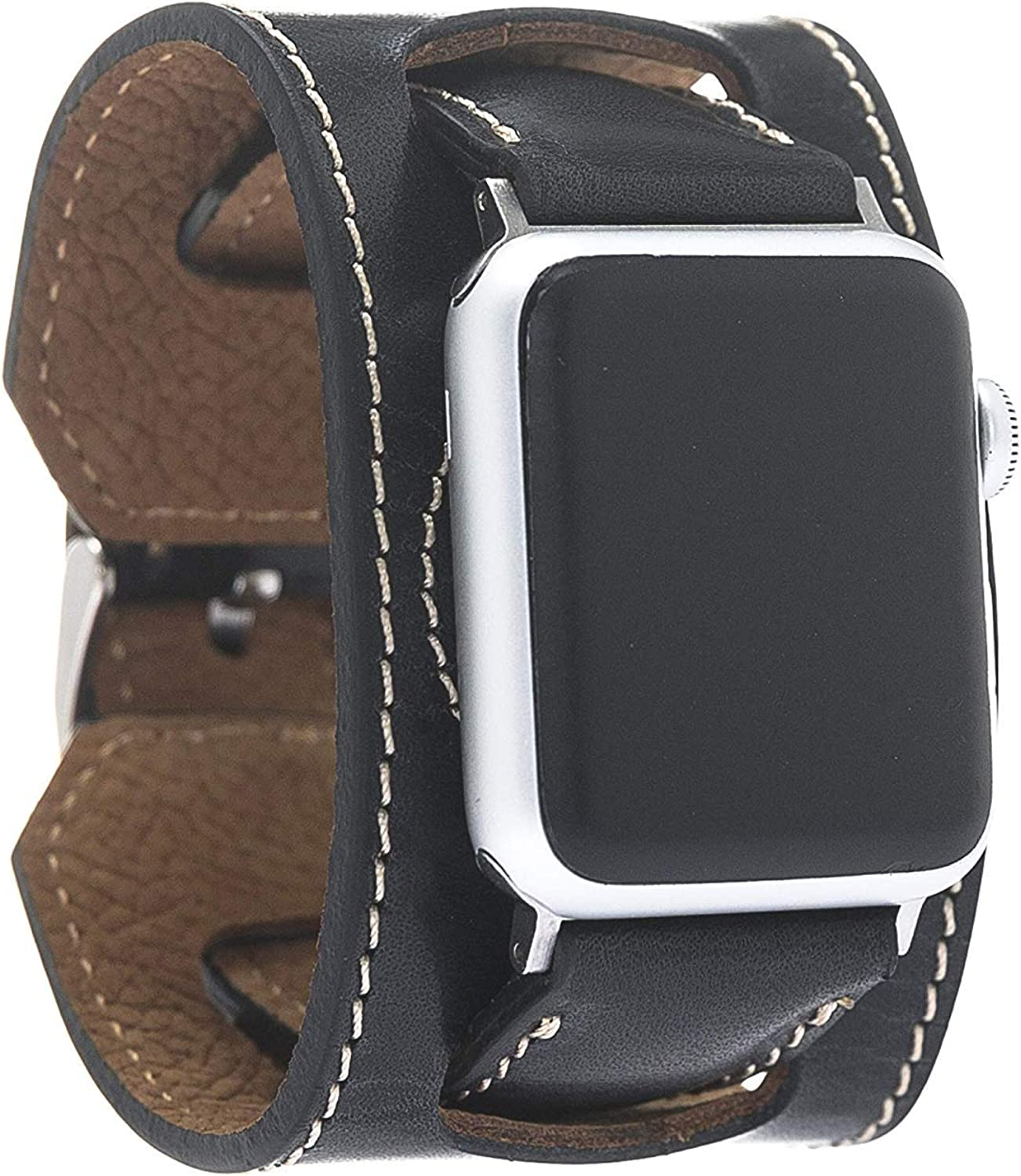 Bouletta Leather Cuff Watch Band for Apple Watch 38mm 40mm 42mm 44mm, iWatch Cuff Strap Wristband for Apple Watch Series 4 3 2 1