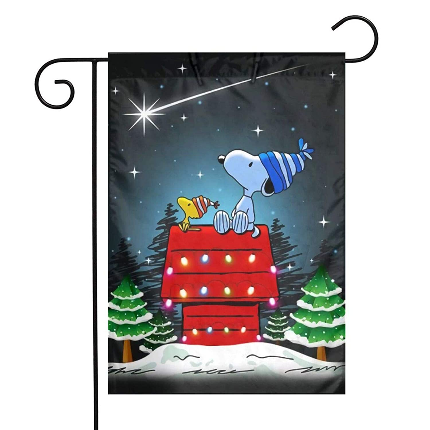 Garden Flag Yard Decor - Custom Snoopy And Woodstock Christmas Lawn Flag 12 X 18 Inches