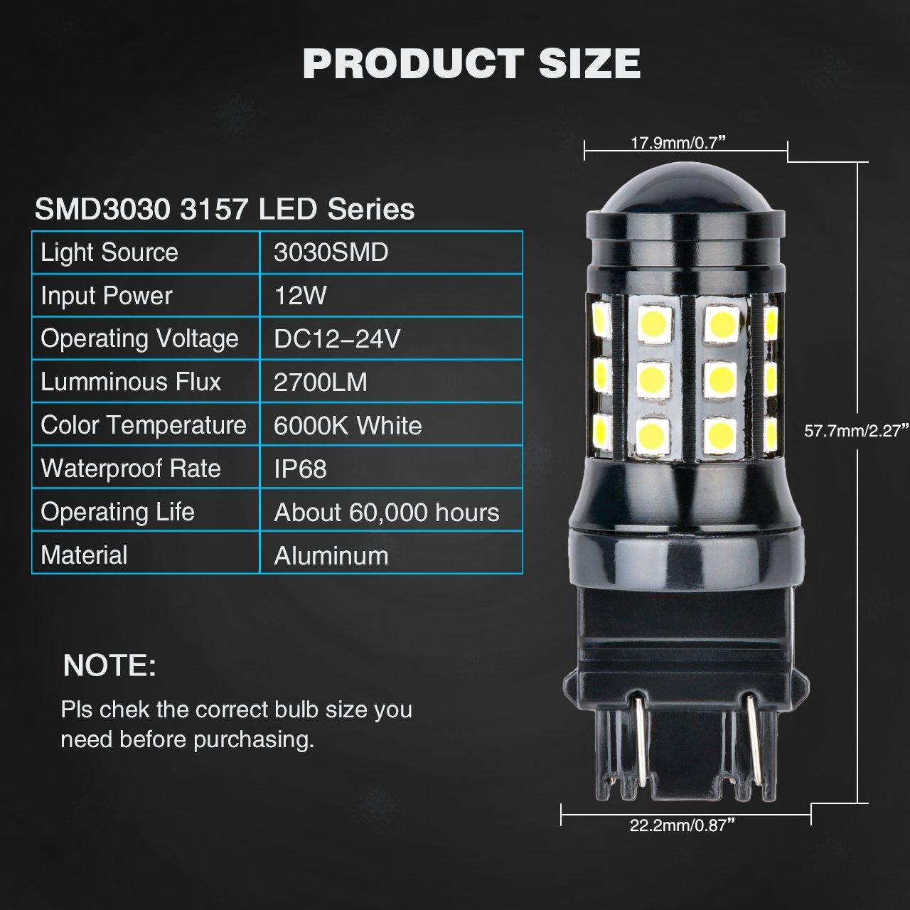 NATGIC Super Bright 2PCS 2700 Lumens 3030 27SMD 3157 3047 3057 3457 3155 3156 3456 Lens LED Brake Light Turn Signals Bulbs Reverse Tail Lights 12V-24V 6000K White