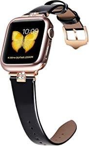JSGJMY Compatible with Apple Watch 38mm 40mm 42mm 44mm Women Shiny Patent Genuine Leather Strap with Diamond Rhinestone for iWatch Series 5 4 3 2 1 (Black/Rose Gold, 42mm/44mm)